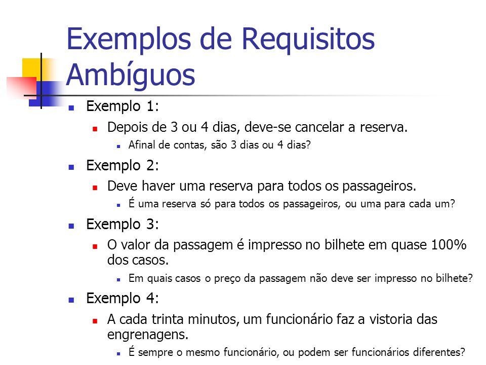 Exemplos de Requisitos Ambíguos Exemplo 1: Depois de 3 ou 4 dias, deve-se cancelar a reserva.