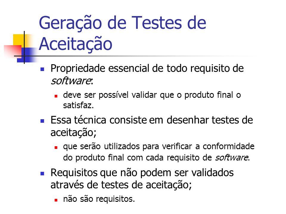 Geração de Testes de Aceitação Propriedade essencial de todo requisito de software: deve ser possível validar que o produto final o satisfaz. Essa téc