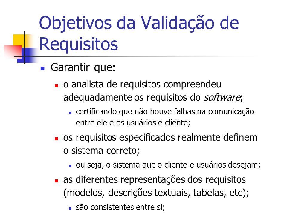 Objetivos da Validação de Requisitos Garantir que: a especificação dos requisitos do software: apresenta qualidade; está em conformidade com os padrões das organizações envolvidas (cliente e desenvolvedora); é um documento adequado; que permite prosseguir com o desenho e a implementação do software.