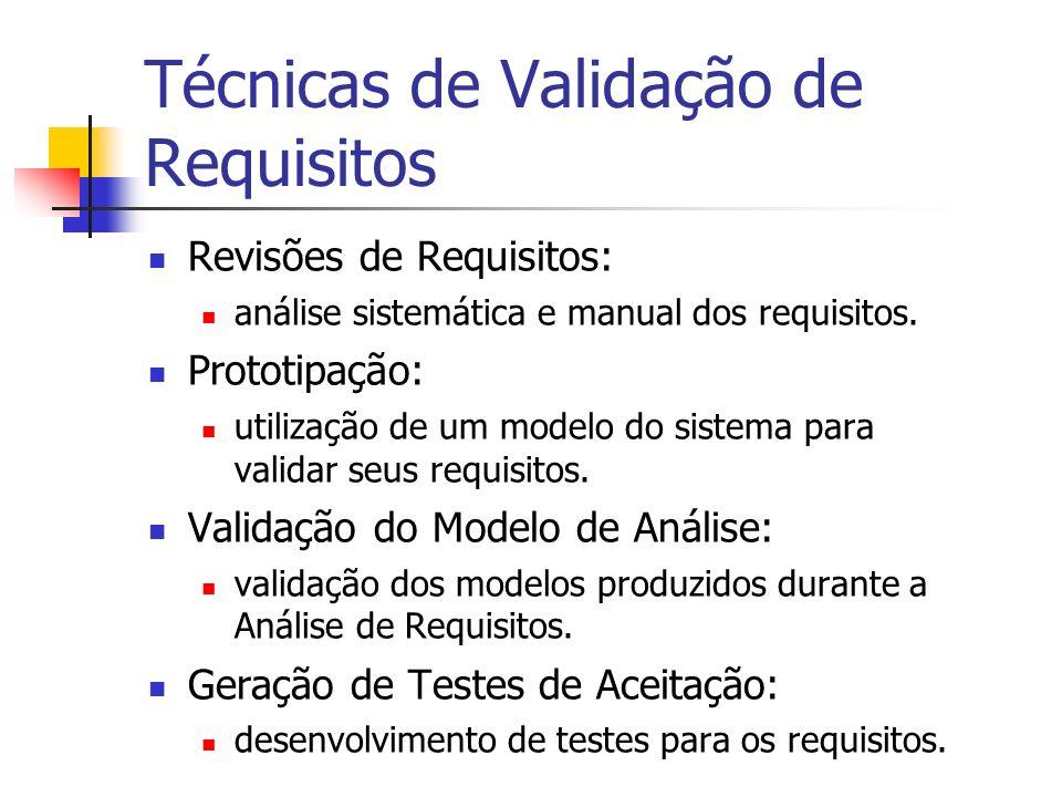 Revisões de Requisitos Um grupo de revisores é alocado para examinar a especificação dos requisitos do software: verificando que esse documento satisfaz os critérios de qualidade desejados; procurando por: erros no conteúdo ou de interpretação; hipóteses confusas ou equivocadas; falta de clareza na descrição dos requisitos; desvios em relação aos padrões estabelecidos no processo ou projeto; falta de alguma informação; inconsistências entre requisitos; requisitos não alcançáveis.