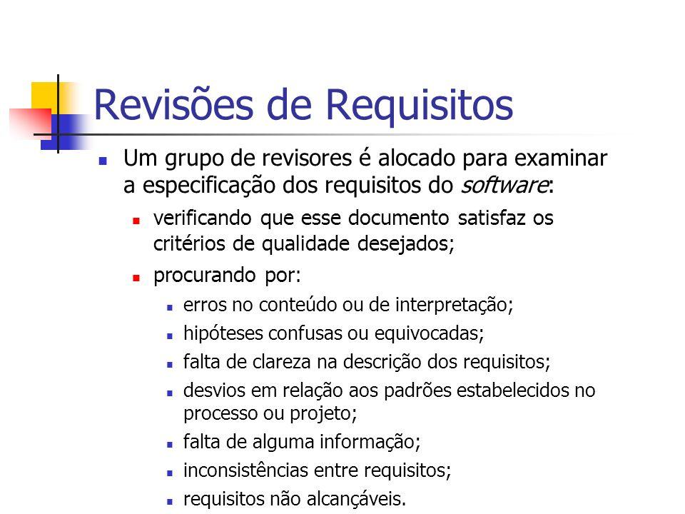 Revisões de Requisitos Um grupo de revisores é alocado para examinar a especificação dos requisitos do software: verificando que esse documento satisf