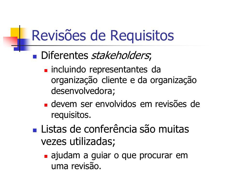 Revisões de Requisitos Diferentes stakeholders; incluindo representantes da organização cliente e da organização desenvolvedora; devem ser envolvidos