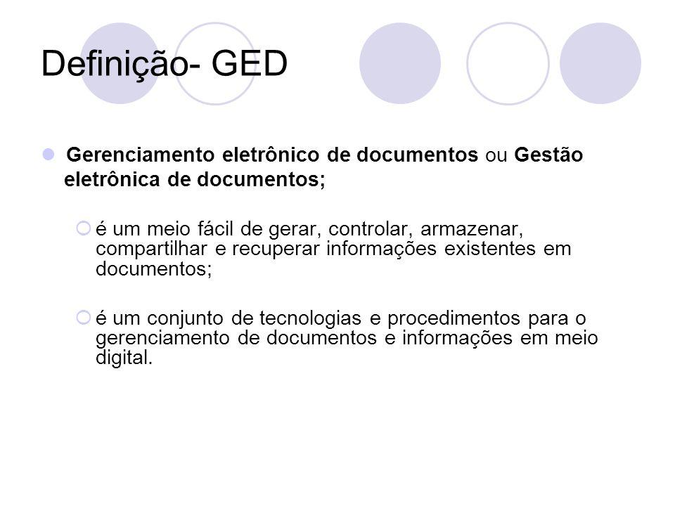 Definição- GED Gerenciamento eletrônico de documentos ou Gestão eletrônica de documentos; é um meio fácil de gerar, controlar, armazenar, compartilhar