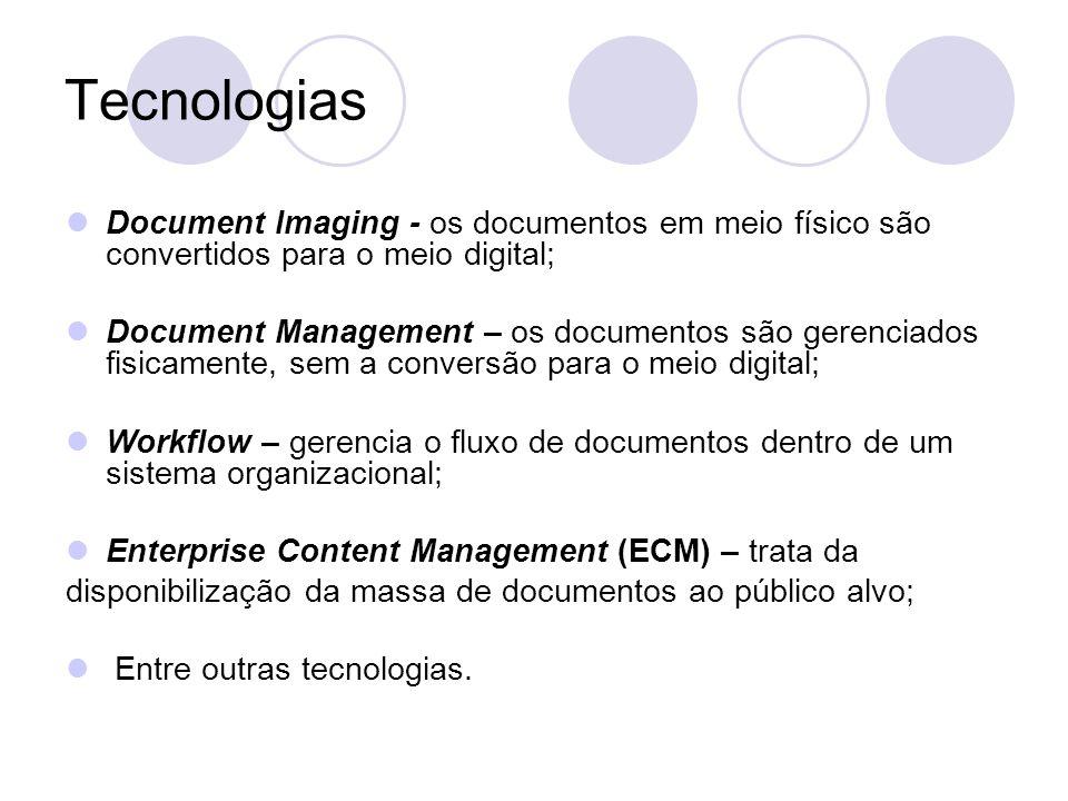 Tecnologias- Funcionalidades As tecnologias do GED estão divididas em cinco funcionalidades básicas: Captação; Gerenciamento; Armazenamento; Distribuição; Preservação.