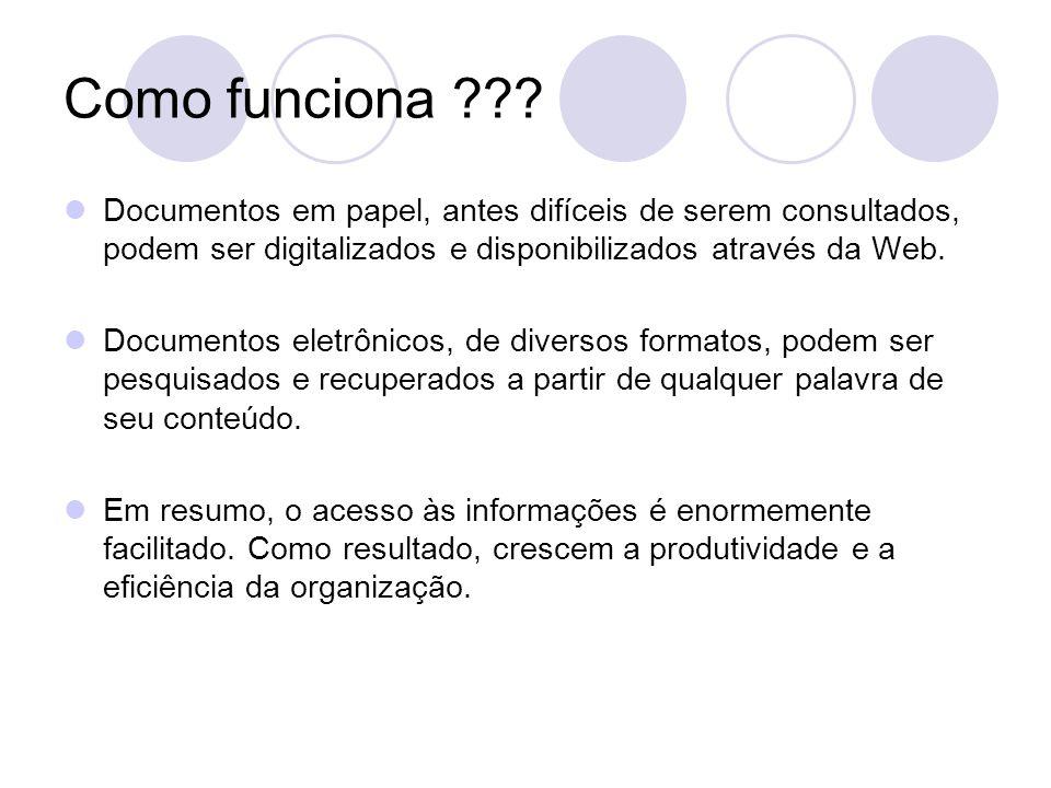 Como funciona ??? Documentos em papel, antes difíceis de serem consultados, podem ser digitalizados e disponibilizados através da Web. Documentos elet