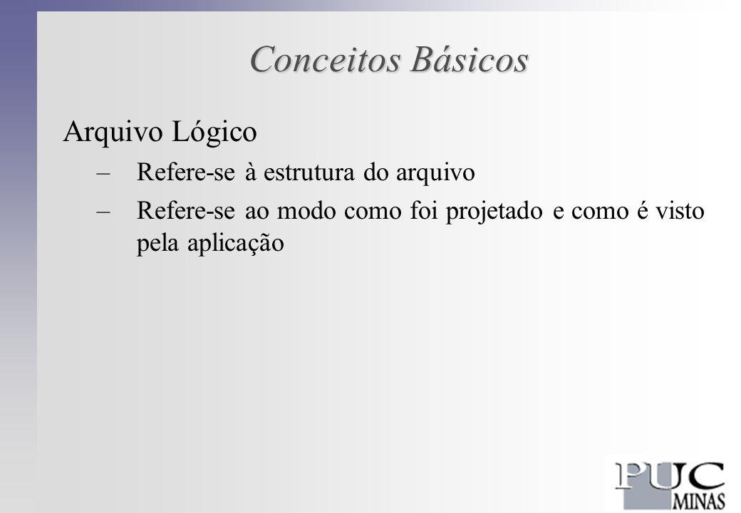 Conceitos Básicos Arquivo Lógico –Refere-se à estrutura do arquivo –Refere-se ao modo como foi projetado e como é visto pela aplicação