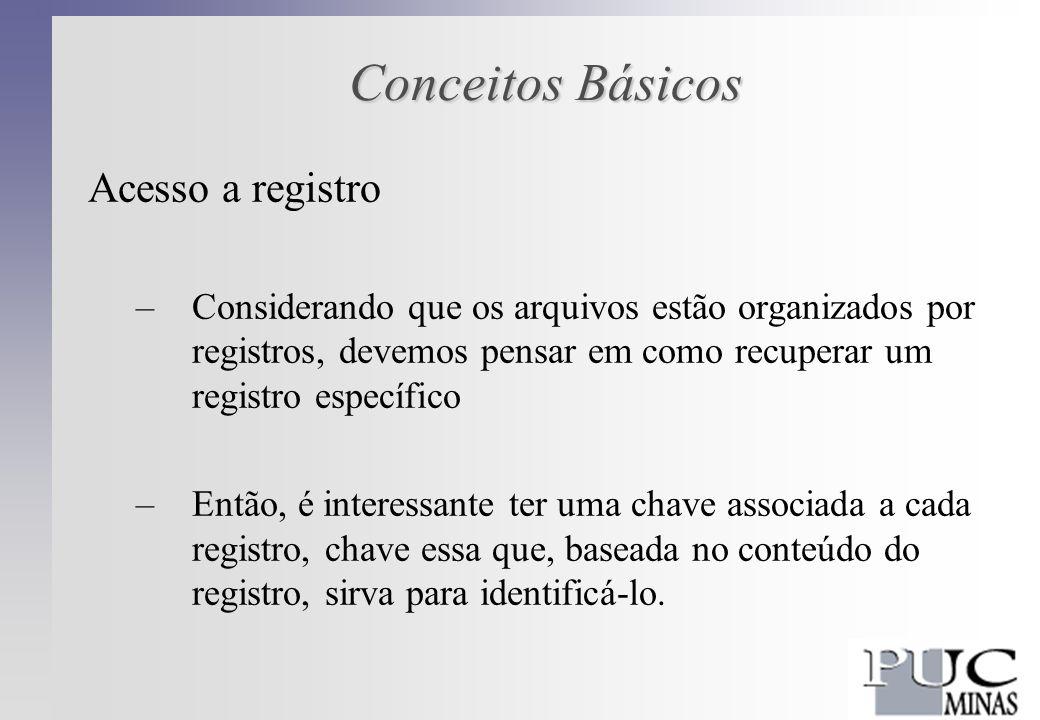 Conceitos Básicos Acesso a registro –Considerando que os arquivos estão organizados por registros, devemos pensar em como recuperar um registro específico –Então, é interessante ter uma chave associada a cada registro, chave essa que, baseada no conteúdo do registro, sirva para identificá-lo.