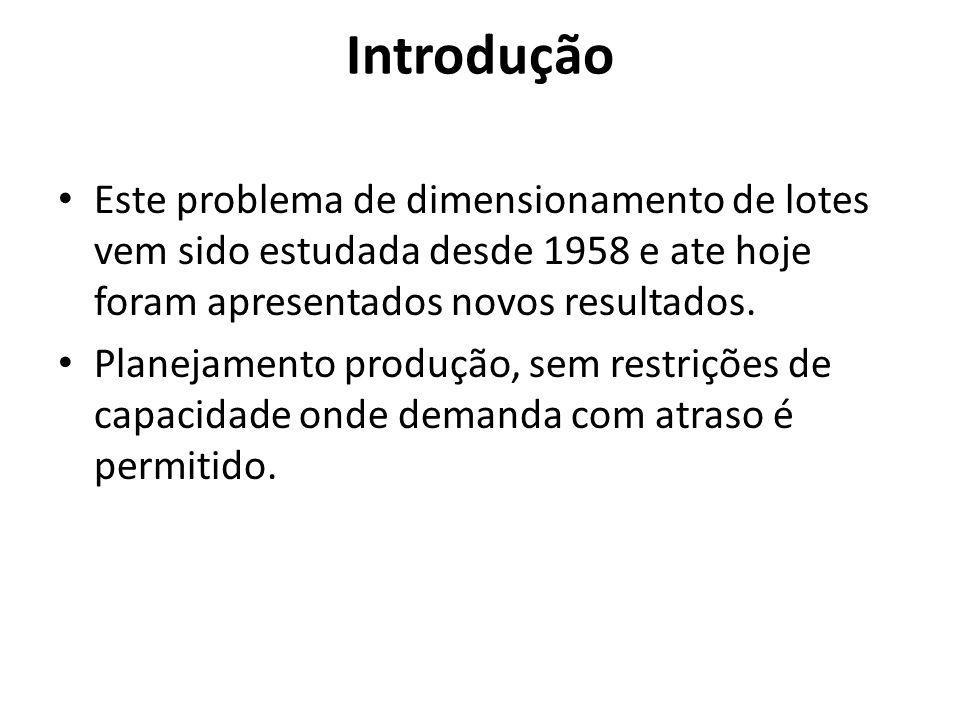 Introdução Este problema de dimensionamento de lotes vem sido estudada desde 1958 e ate hoje foram apresentados novos resultados. Planejamento produçã