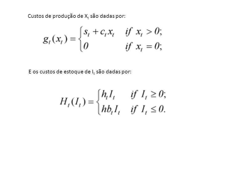 Custos de produção de X t são dadas por: E os custos de estoque de I t são dadas por: