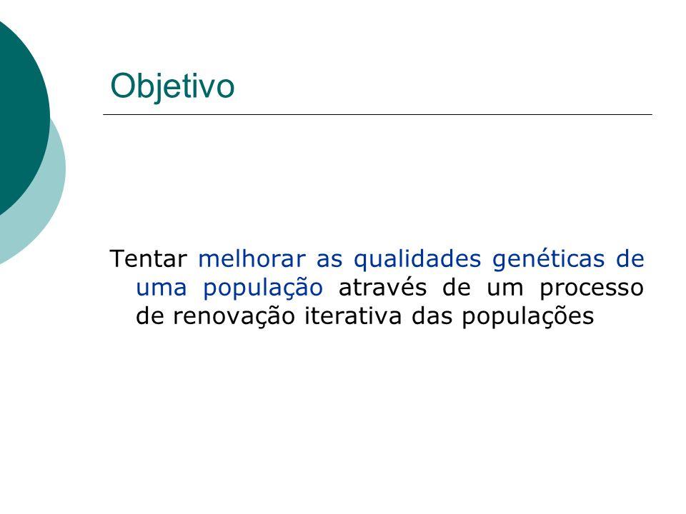 Objetivo Tentar melhorar as qualidades genéticas de uma população através de um processo de renovação iterativa das populações