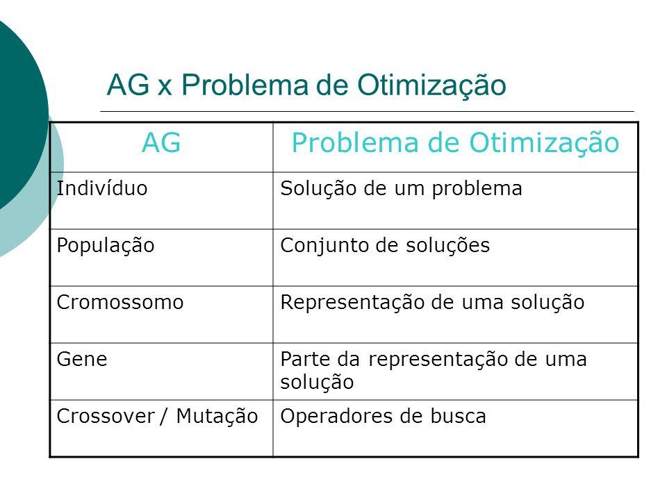 AG x Problema de Otimização AGProblema de Otimização IndivíduoSolução de um problema PopulaçãoConjunto de soluções CromossomoRepresentação de uma solu