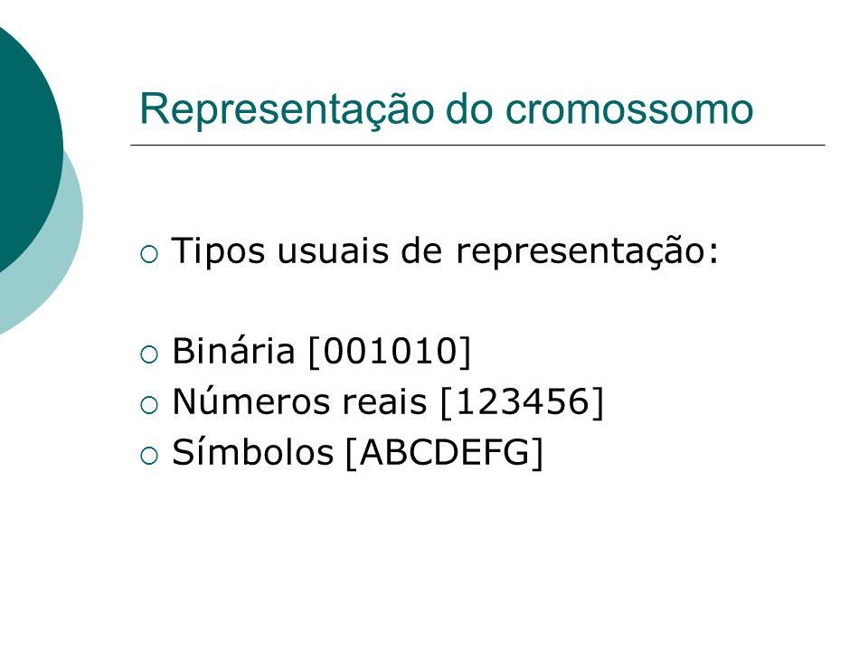 Representação do cromossomo Tipos usuais de representação: Binária [001010] Números reais [123456] Símbolos [ABCDEFG]