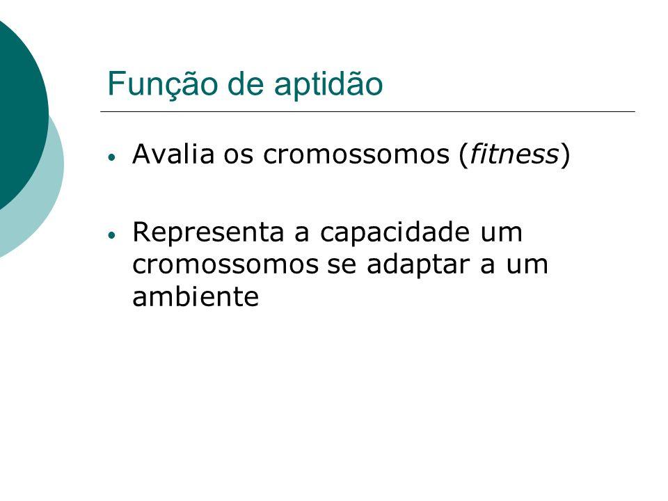 Função de aptidão Avalia os cromossomos (fitness) Representa a capacidade um cromossomos se adaptar a um ambiente