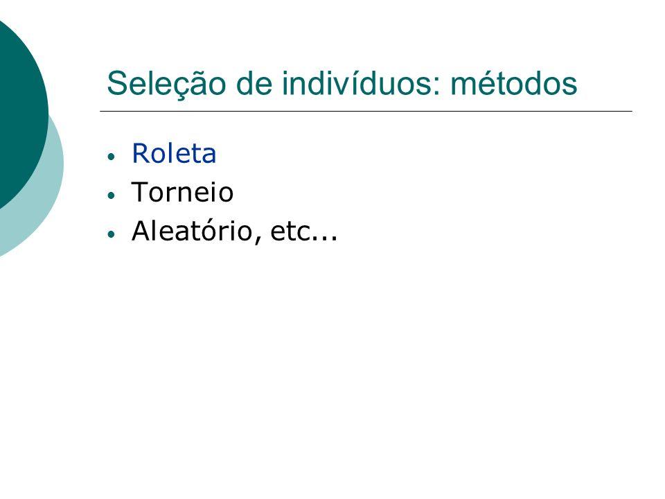 Seleção de indivíduos: métodos Roleta Torneio Aleatório, etc...