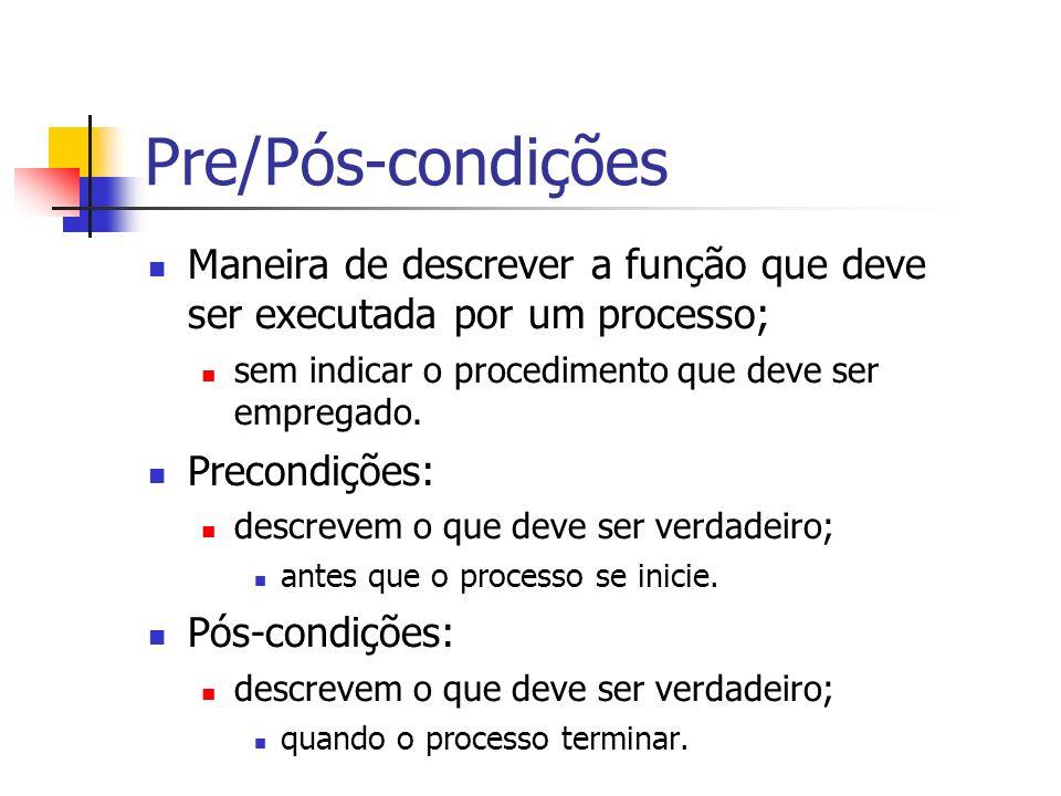 Pre/Pós-condições Maneira de descrever a função que deve ser executada por um processo; sem indicar o procedimento que deve ser empregado. Precondiçõe