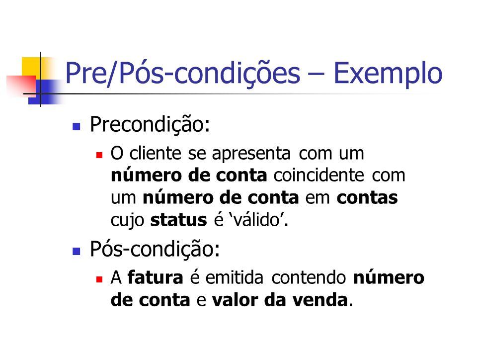 Pre/Pós-condições – Exemplo Precondição: O cliente se apresenta com um número de conta coincidente com um número de conta em contas cujo status é váli