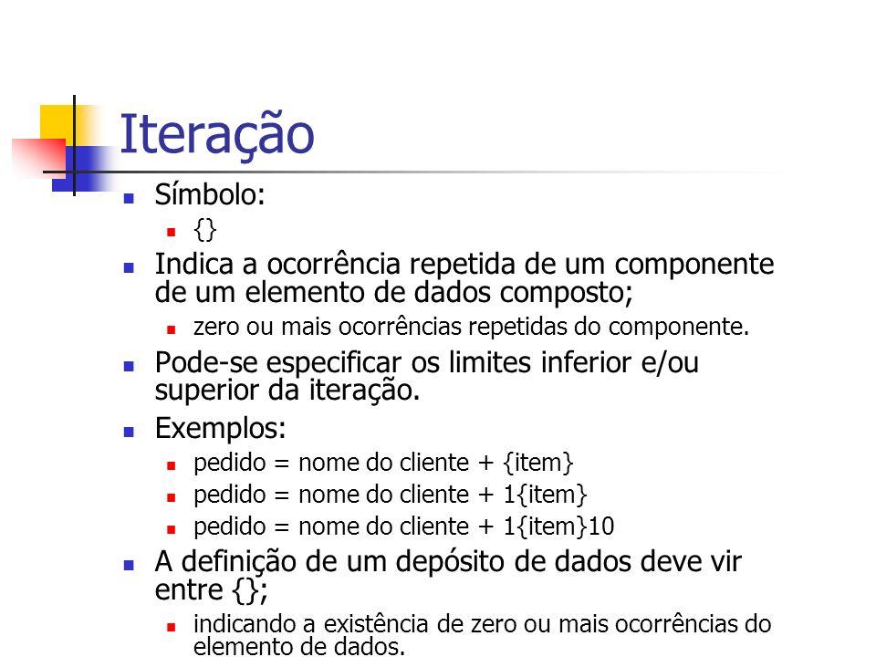 Iteração Símbolo: {} Indica a ocorrência repetida de um componente de um elemento de dados composto; zero ou mais ocorrências repetidas do componente.