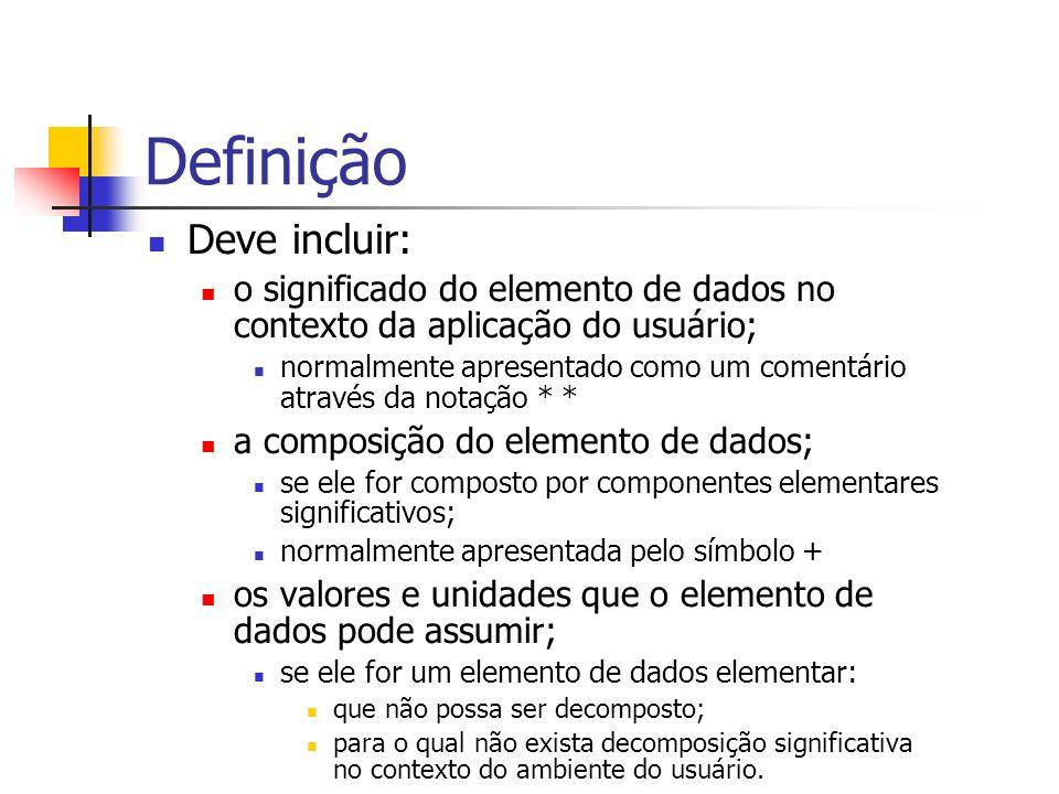 Definição Deve incluir: o significado do elemento de dados no contexto da aplicação do usuário; normalmente apresentado como um comentário através da