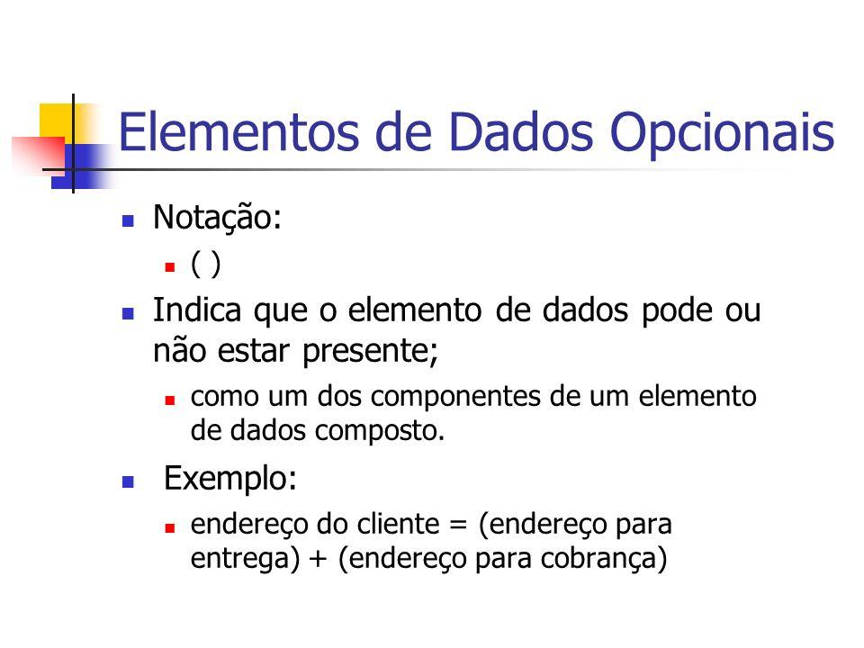 Elementos de Dados Opcionais Notação: ( ) Indica que o elemento de dados pode ou não estar presente; como um dos componentes de um elemento de dados c
