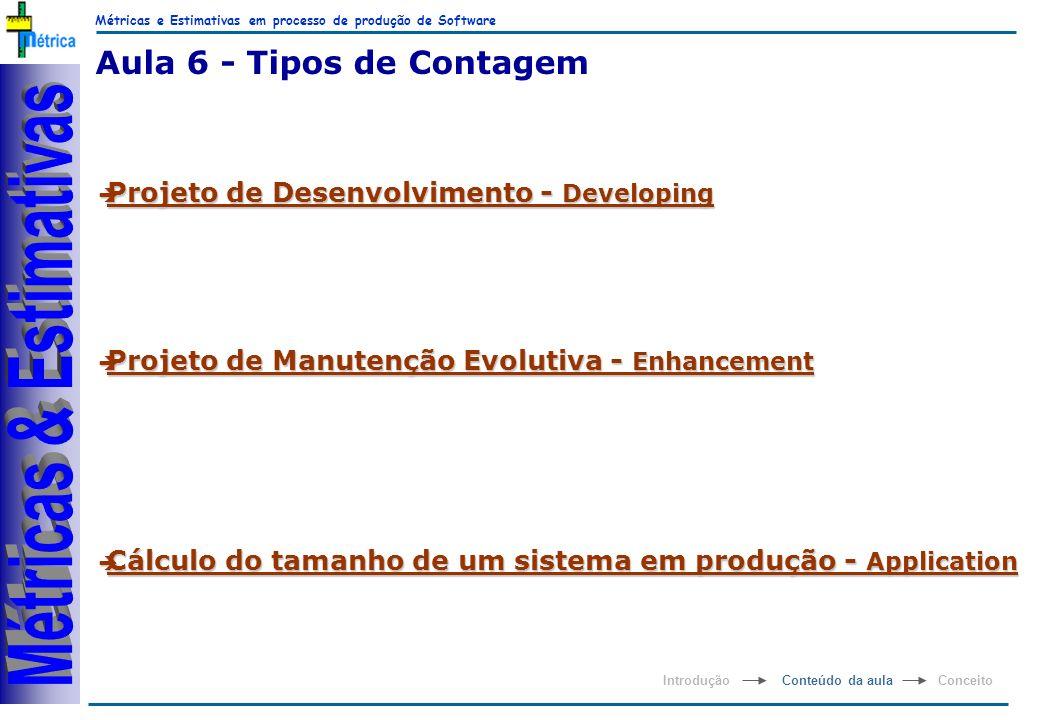 Métricas e Estimativas em processo de produção de Software RiKos Aula 6 - Tipos de Contagem è Projeto de Desenvolvimento - Developing è Projeto de Man