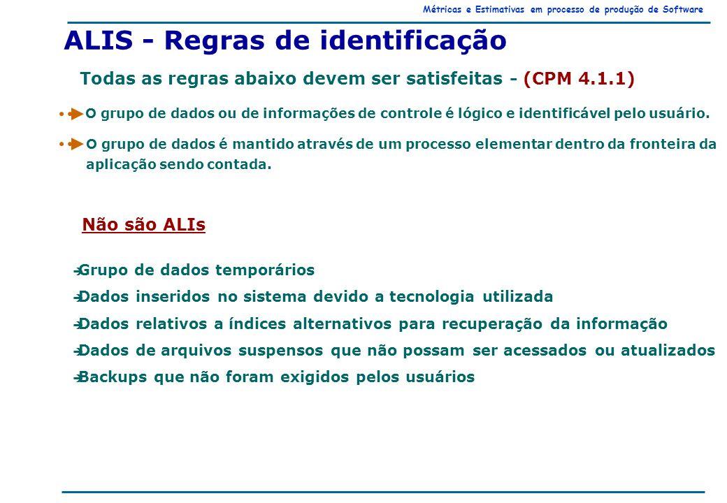 Métricas e Estimativas em processo de produção de Software ALIS - Regras de identificação Todas as regras abaixo devem ser satisfeitas - (CPM 4.1.1) O grupo de dados ou de informações de controle é lógico e identificável pelo usuário.