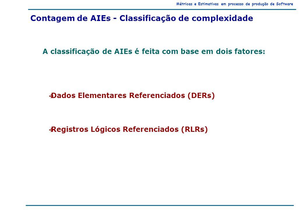 Métricas e Estimativas em processo de produção de Software Contagem de AIEs - Classificação de complexidade è Dados Elementares Referenciados (DERs) è Registros Lógicos Referenciados (RLRs) A classificação de AIEs é feita com base em dois fatores: