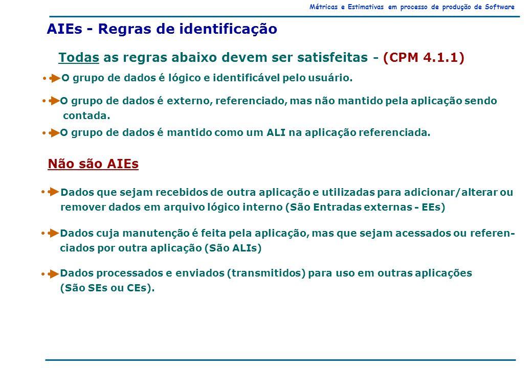 Métricas e Estimativas em processo de produção de Software AIEs - Regras de identificação Todas as regras abaixo devem ser satisfeitas - (CPM 4.1.1) O grupo de dados é lógico e identificável pelo usuário.