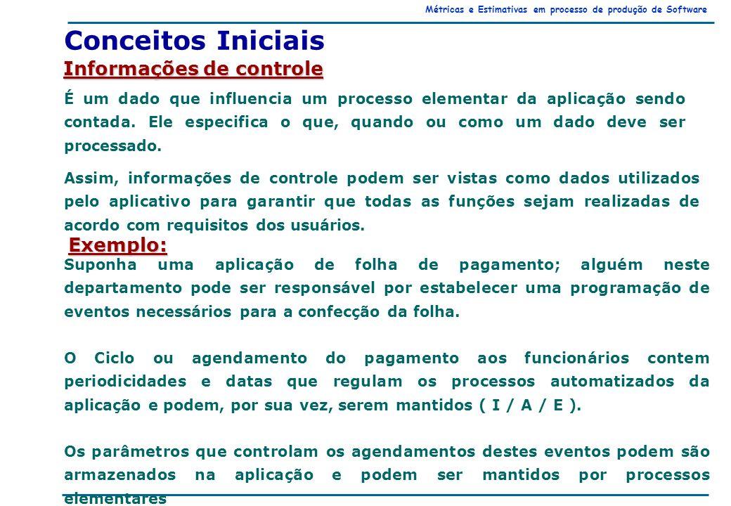 Métricas e Estimativas em processo de produção de Software Conceitos Iniciais Informações de controle É um dado que influencia um processo elementar da aplicação sendo contada.