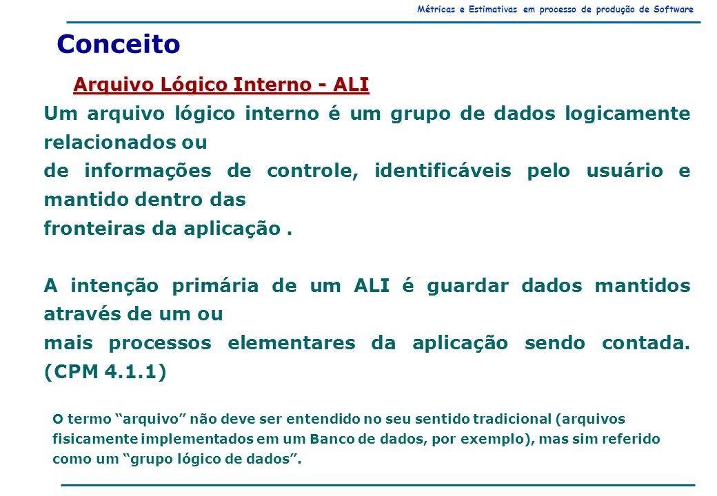 Métricas e Estimativas em processo de produção de Software Arquivo Lógico Interno - ALI Conceito Um arquivo lógico interno é um grupo de dados logicamente relacionados ou de informações de controle, identificáveis pelo usuário e mantido dentro das fronteiras da aplicação.