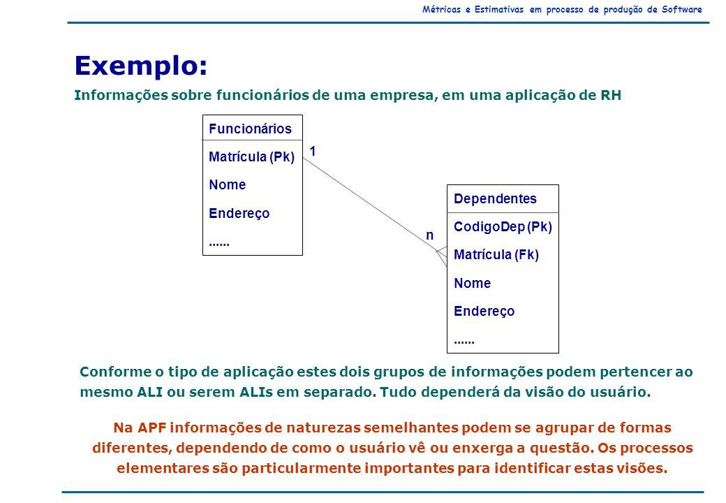 Métricas e Estimativas em processo de produção de Software Exemplo: Informações sobre funcionários de uma empresa, em uma aplicação de RH Conforme o tipo de aplicação estes dois grupos de informações podem pertencer ao mesmo ALI ou serem ALIs em separado.