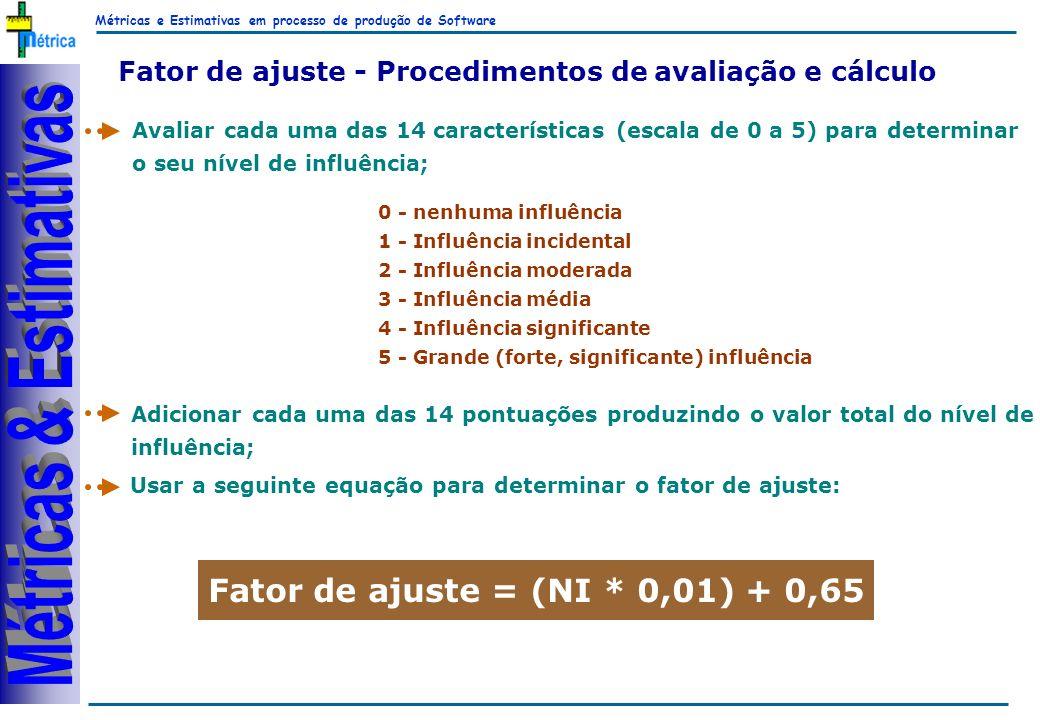 Métricas e Estimativas em processo de produção de Software RiKos Fator de ajuste - Procedimentos de avaliação e cálculo Avaliar cada uma das 14 características (escala de 0 a 5) para determinar o seu nível de influência; Adicionar cada uma das 14 pontuações produzindo o valor total do nível de influência; Usar a seguinte equação para determinar o fator de ajuste: Fator de ajuste = (NI * 0,01) + 0,65 0 - nenhuma influência 1 - Influência incidental 2 - Influência moderada 3 - Influência média 4 - Influência significante 5 - Grande (forte, significante) influência