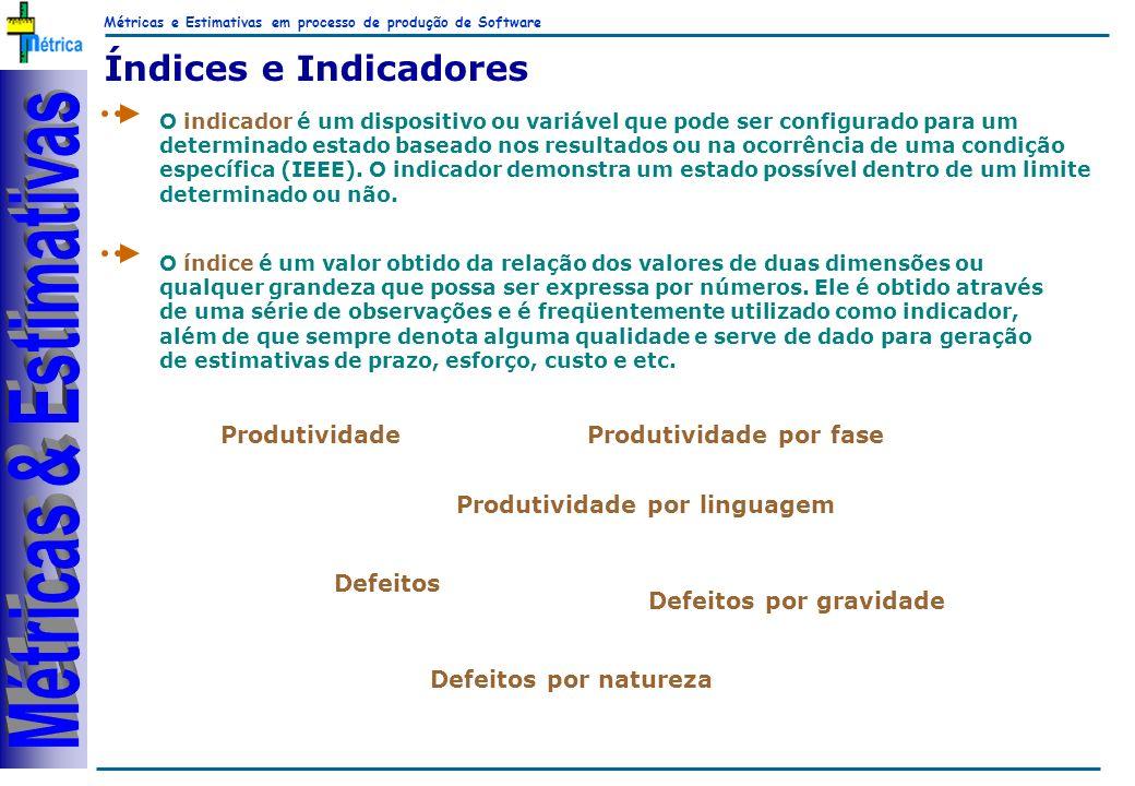 Métricas e Estimativas em processo de produção de Software RiKos Índices e Indicadores O indicador é um dispositivo ou variável que pode ser configura