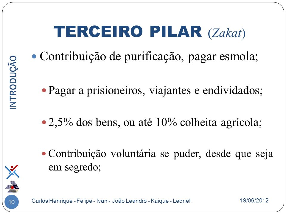 10 Contribuição de purificação, pagar esmola; Pagar a prisioneiros, viajantes e endividados; 2,5% dos bens, ou até 10% colheita agrícola; Contribuição