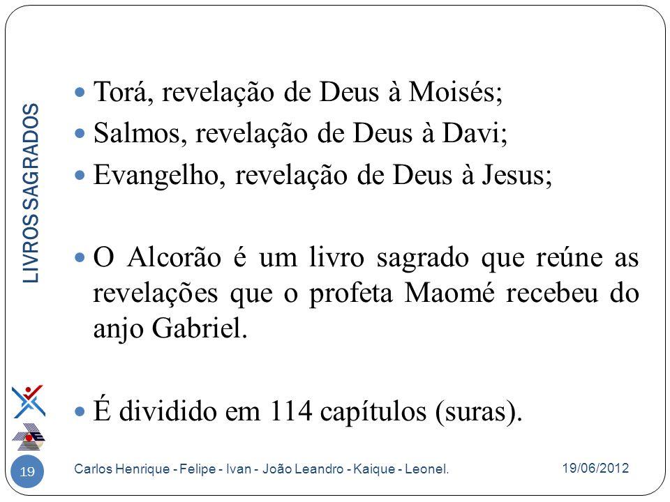 19 Torá, revelação de Deus à Moisés; Salmos, revelação de Deus à Davi; Evangelho, revelação de Deus à Jesus; O Alcorão é um livro sagrado que reúne as