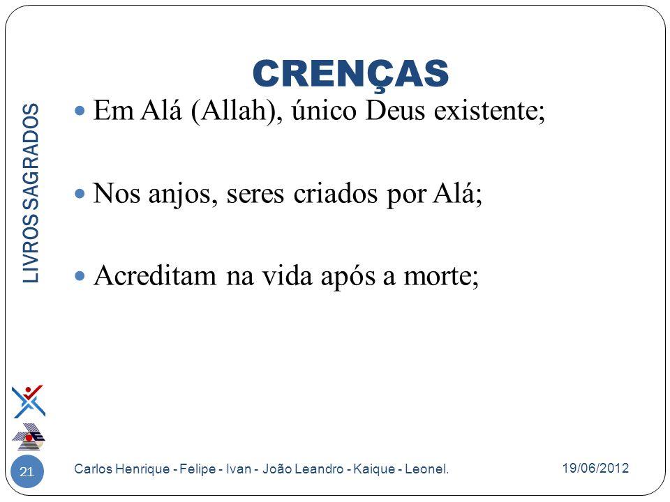 21 Em Alá (Allah), único Deus existente; Nos anjos, seres criados por Alá; Acreditam na vida após a morte; LIVROS SAGRADOS Carlos Henrique - Felipe -
