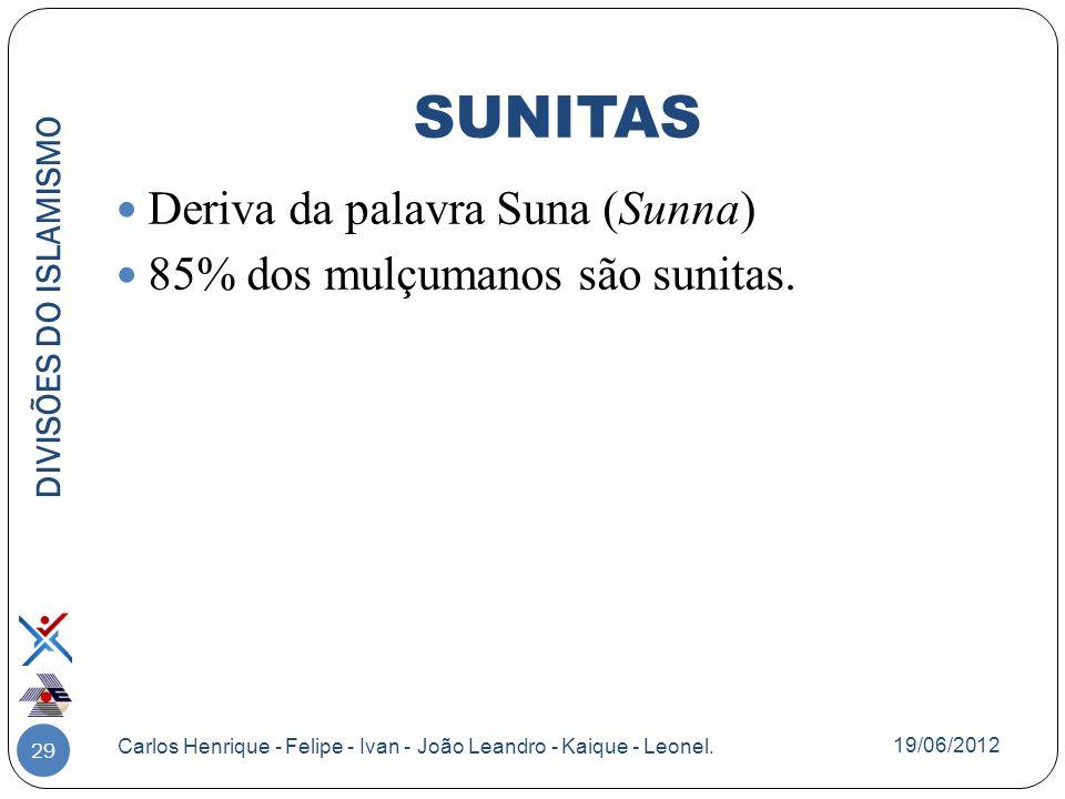 29 Deriva da palavra Suna (Sunna) 85% dos mulçumanos são sunitas. DIVISÕES DO ISLAMISMO Carlos Henrique - Felipe - Ivan - João Leandro - Kaique - Leon