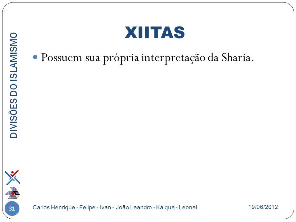 31 Possuem sua própria interpretação da Sharia. DIVISÕES DO ISLAMISMO Carlos Henrique - Felipe - Ivan - João Leandro - Kaique - Leonel. XIITAS 19/06/2