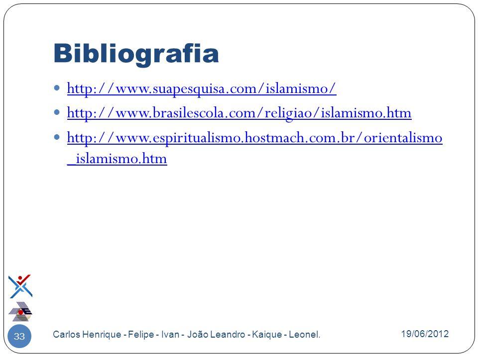 Bibliografia http://www.suapesquisa.com/islamismo/ http://www.brasilescola.com/religiao/islamismo.htm http://www.espiritualismo.hostmach.com.br/orient