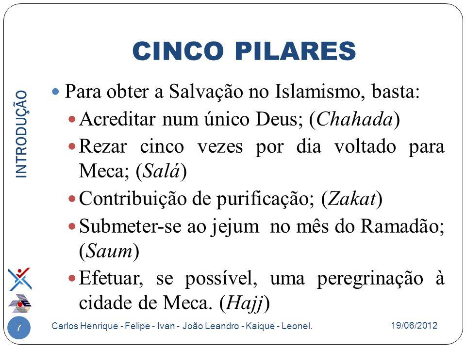 7 Para obter a Salvação no Islamismo, basta: Acreditar num único Deus; (Chahada) Rezar cinco vezes por dia voltado para Meca; (Salá) Contribuição de p