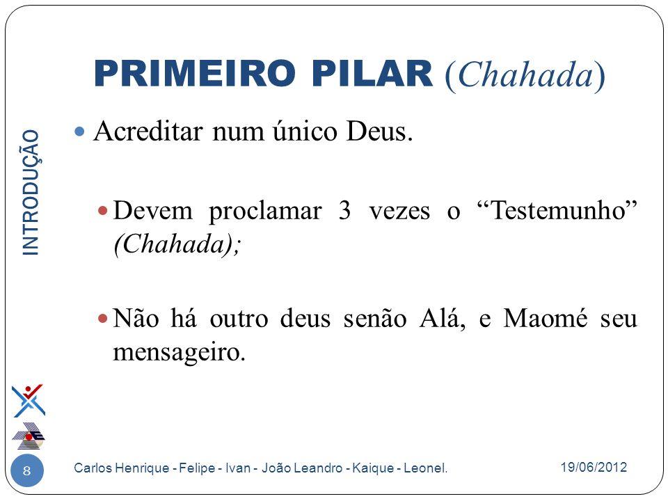 8 Acreditar num único Deus. Devem proclamar 3 vezes o Testemunho (Chahada); Não há outro deus senão Alá, e Maomé seu mensageiro. INTRODUÇÃO Carlos Hen
