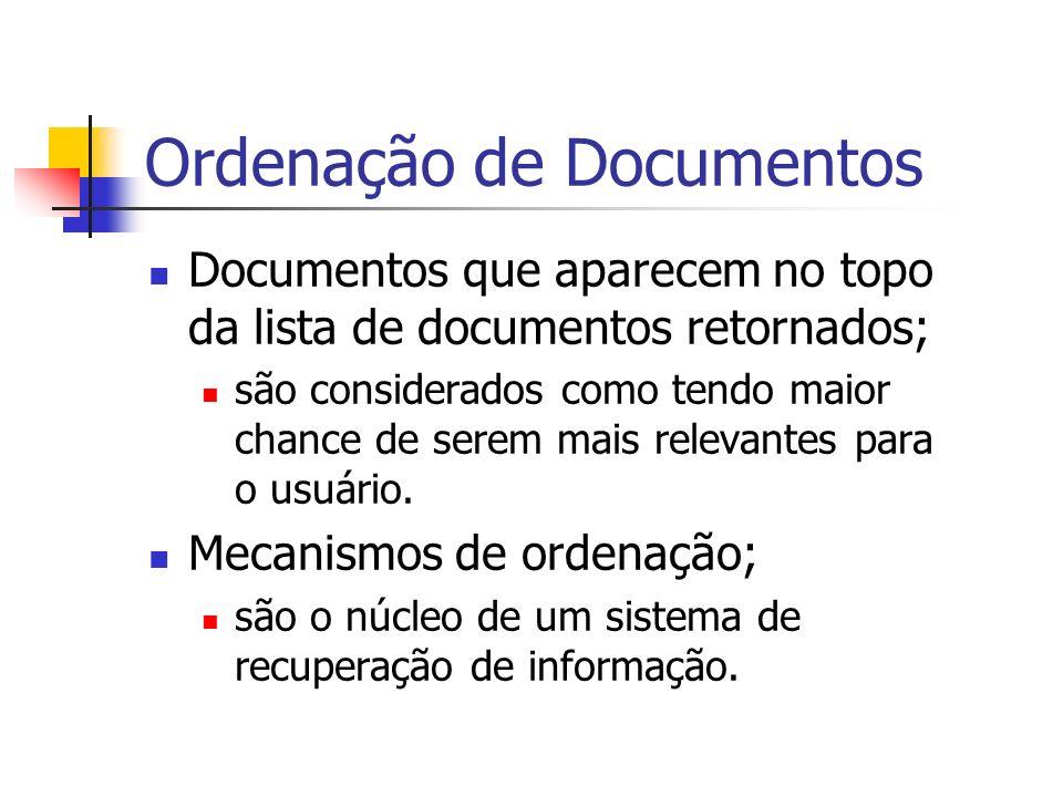 Ordenação de Documentos Documentos que aparecem no topo da lista de documentos retornados; são considerados como tendo maior chance de serem mais rele
