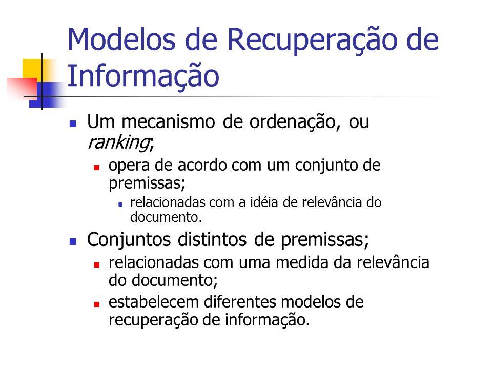 Modelos de Recuperação de Informação Um mecanismo de ordenação, ou ranking; opera de acordo com um conjunto de premissas; relacionadas com a idéia de
