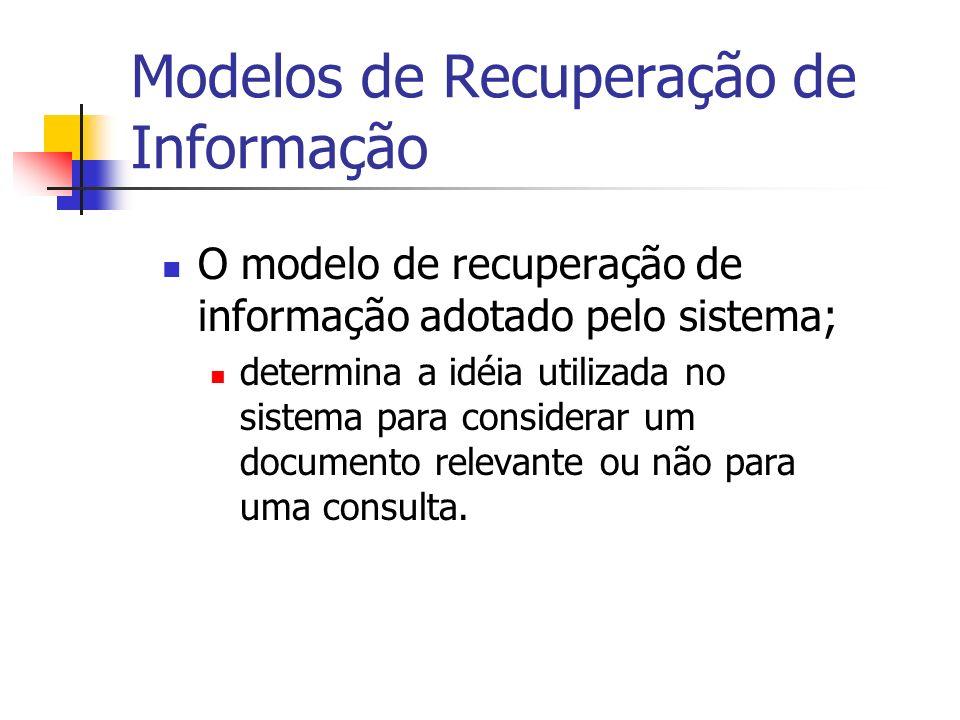 Modelos de Recuperação de Informação O modelo de recuperação de informação adotado pelo sistema; determina a idéia utilizada no sistema para considera