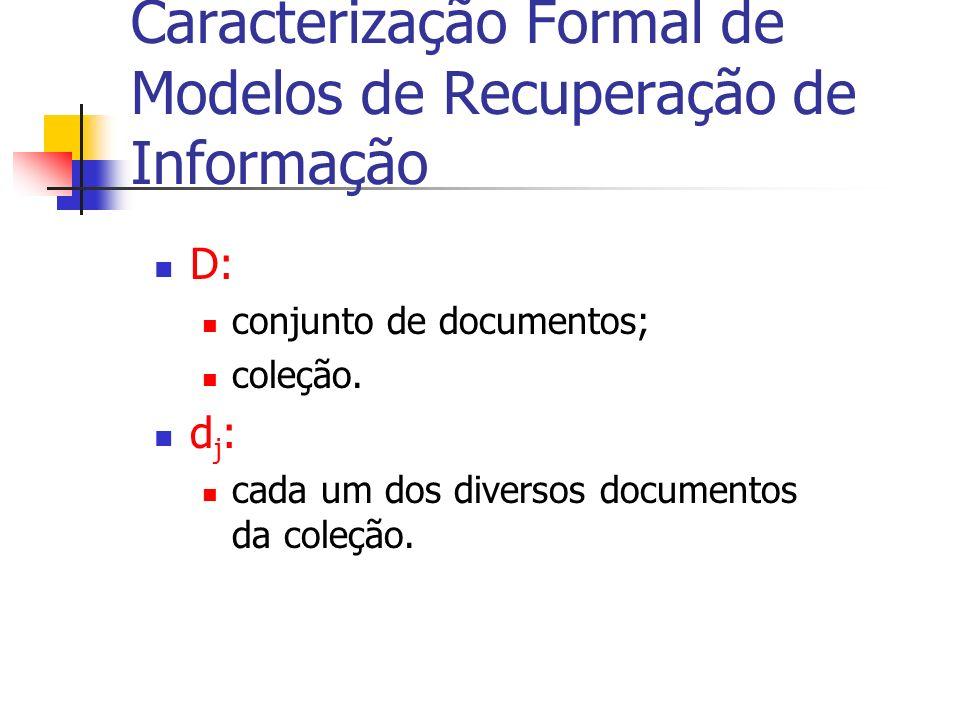 Caracterização Formal de Modelos de Recuperação de Informação D: conjunto de documentos; coleção. d j : cada um dos diversos documentos da coleção.