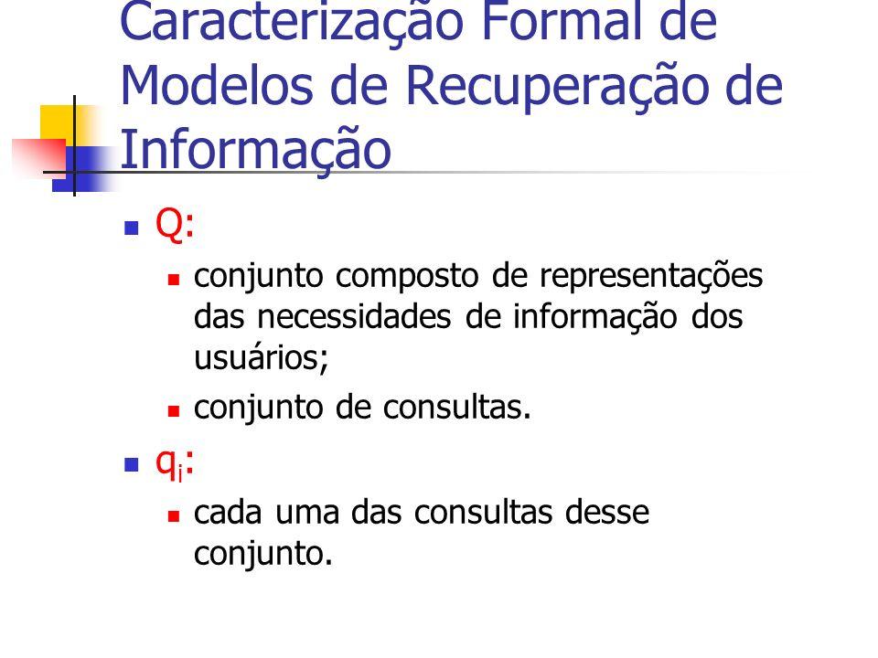 Q: conjunto composto de representações das necessidades de informação dos usuários; conjunto de consultas. q i : cada uma das consultas desse conjunto