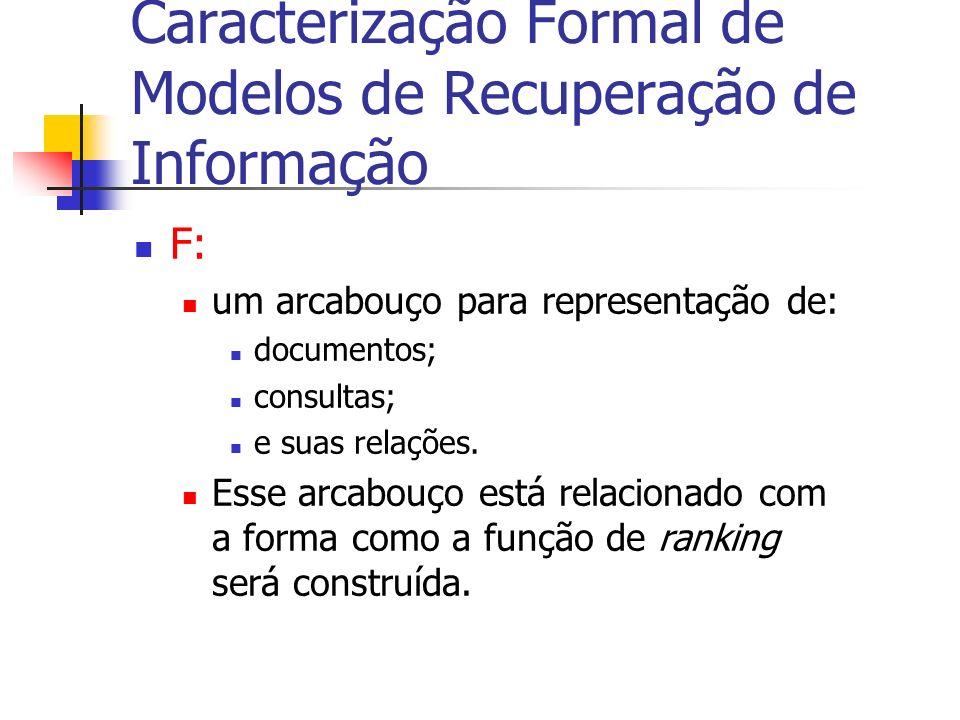 F: um arcabouço para representação de: documentos; consultas; e suas relações. Esse arcabouço está relacionado com a forma como a função de ranking se