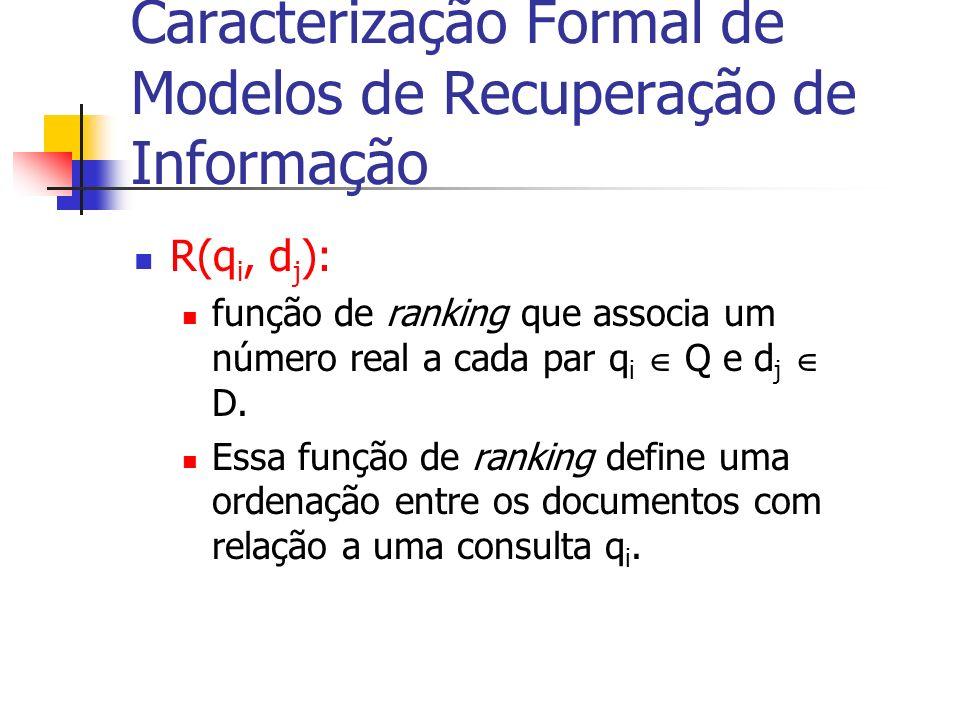 R(q i, d j ): função de ranking que associa um número real a cada par q i Q e d j D. Essa função de ranking define uma ordenação entre os documentos c