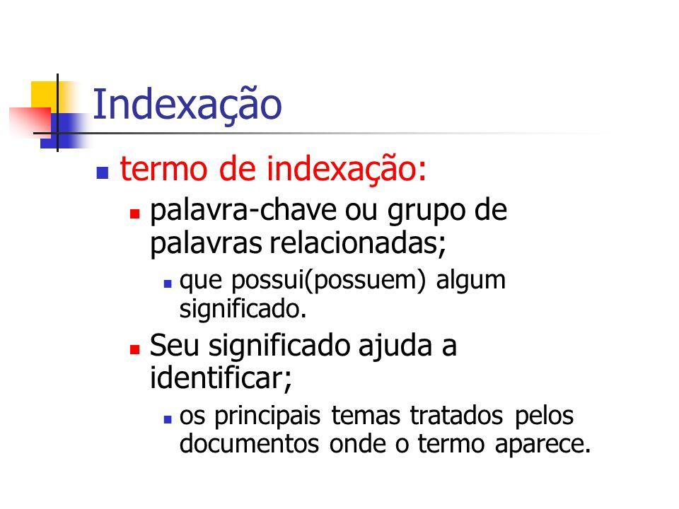 Indexação termo de indexação: palavra-chave ou grupo de palavras relacionadas; que possui(possuem) algum significado. Seu significado ajuda a identifi