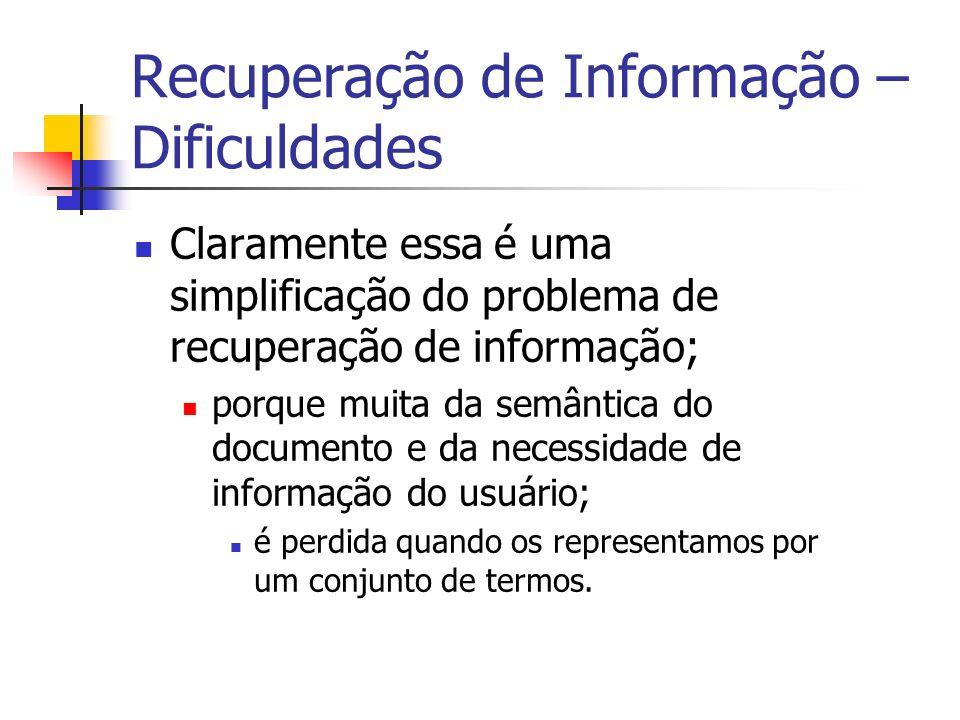 Recuperação de Informação – Dificuldades Encontrar documentos que atendam à consulta do usuário; é uma tarefa difícil em um espaço impreciso de termos de indexação.