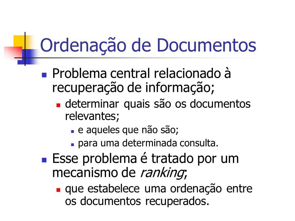 Ordenação de Documentos Problema central relacionado à recuperação de informação; determinar quais são os documentos relevantes; e aqueles que não são